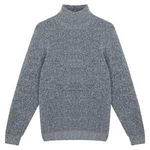 Blue Merino Wool Seamless Boucle Crewneck Sweater