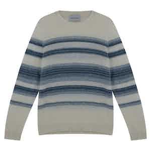 Baby Blue Wool Striped Crewneck Shetland Sweater