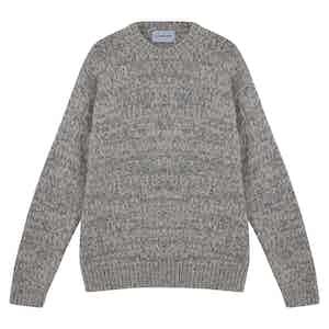 Grey Alpaca Wool and Wool Crewneck Sweater