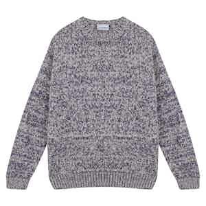 Purple Alpaca Wool and Wool Crewneck Sweater