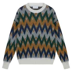 Green Merino Wool Zig-Zag Pattern Sweater