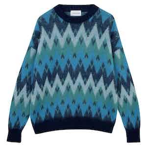 Blue Merino  Wool Zig-Zag Pattern Sweater