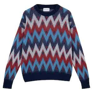 Red Merino Wool Zig-Zag Pattern Sweater