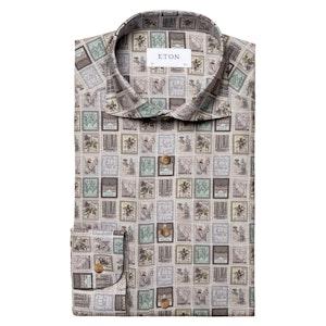Grey Cotton Stamp Slim Fit Shirt