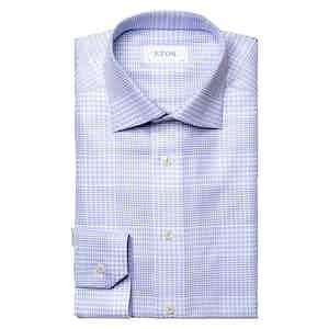 Light Blue Cotton Twill Check Slim Fit Shirt