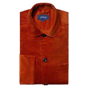 Orange Corduroy Regular Fit Overshirt
