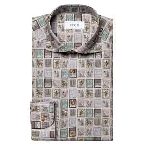 Grey Cotton Stamp Contemporary Fit Shirt