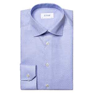 Mid Blue Cotton Twill Contemporary Fit Shirt
