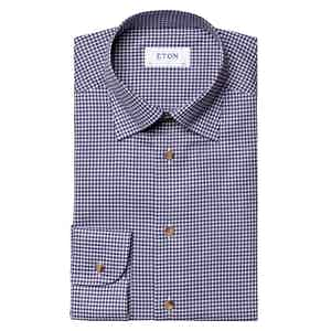 Navy Blue Cotton Check Contemporary Fit