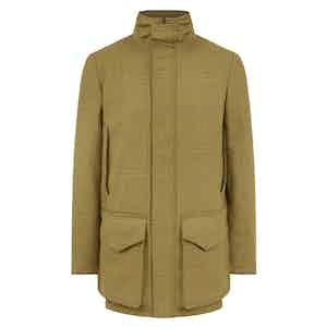 Green Wool Tweed Technical Field Coat