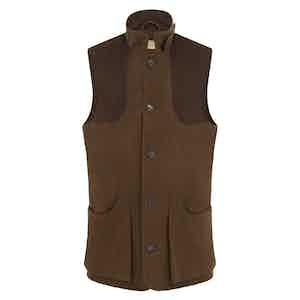 Brown Wool High Collar Loden Shooting Vest