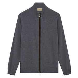 Grey Cashmere Zip-Through Fine Knit Sweater