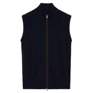 Blue Cashmere Zip-Through Fine Knit Gilet