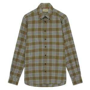 Green Cotton Dogstooth Button-Down Check Shirt