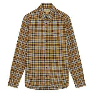 Orange Cotton Micro Windowpane Check Shirt