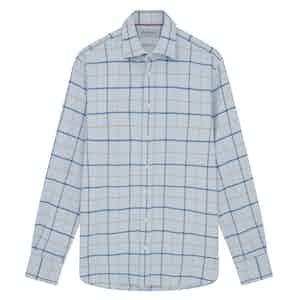 Blue Cotton Heavy Windowpane Check Shirt