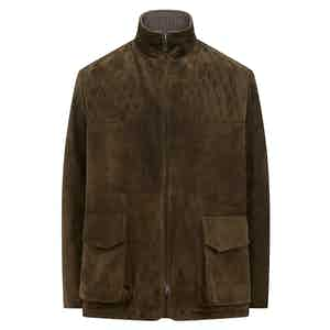 Green Leather Suede Acton Jacket