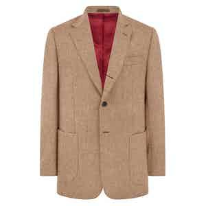 Beige Wool Tweed Mayfair Single-Breasted Jacket