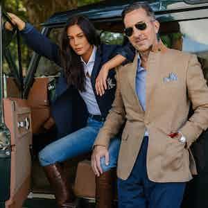 AK MC Provence Wool Silk and Cotton Blend Herringbone Sports Jacket