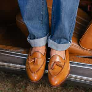 AK MC Hand Made Goodyear welted Tassel Loafers in Hand Burnished Caramel-Brown Leather