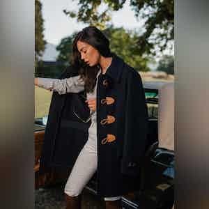 AK MC Ladies' Contemporary Duffel Coat in Navy super-soft Angora/Wool