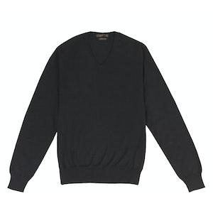 Black Cashmere and Silk V-Neck Sweater