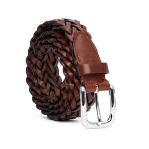 Cognac Vegetable-Tanned Leather Braided Belt