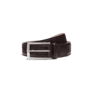 Brown Leather Cintura Marrone Scuro Classica Belt