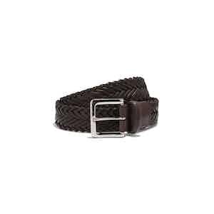 Brown Braided Leather Cintura Marrone Intreciata Belt