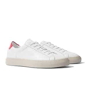White Leather Cosmo Rosso Sneakers