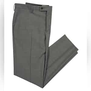 Smart Grey Virgin Wool Stretch Boris Chino Trousers