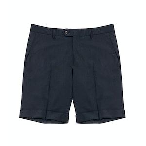 Navy Bazile Virgin Wool-Blend Tailored Shorts