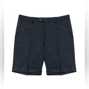 Navy Bazile Virgin Wool-Blend Tailored Shorts