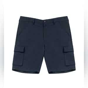 Navy Cleman Cotton Shorts With Side Pockets