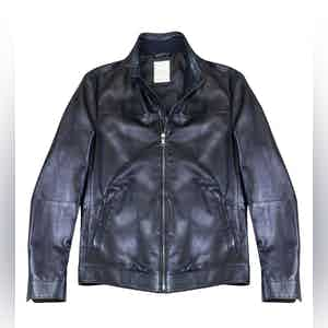 Blue Supersoft Leather Blouson