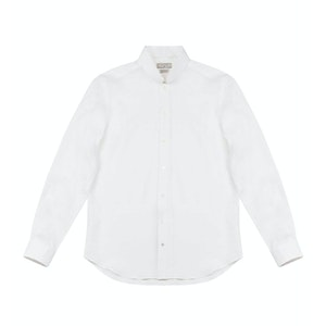 White Conrad Linen Shirt With Slim Collar