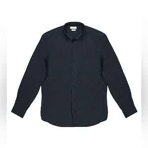 Navy Conrad Linen Shirt With Slim Collar
