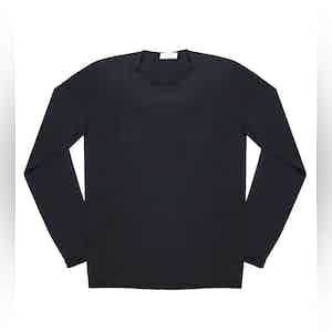 Dark Blue Andreieu Cotton Crew-Neck Jumper