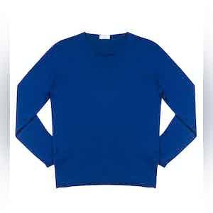 Midnight Blue Andreieu Cotton Crew-Neck Jumper