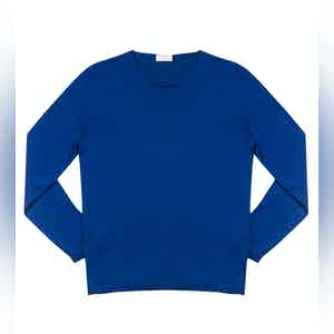 Midnight Blue Andreieu Cotton Crew-Neck Jumper