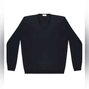 Dark Blue Andre Compact Cotton V-Neck Jumper
