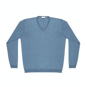 Light Blue Andre Compact Cotton V-Neck Jumper
