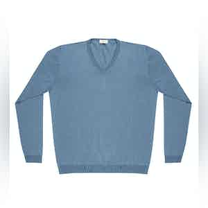 Light Blue Andre Compact Cotton V-Neck Jumper
