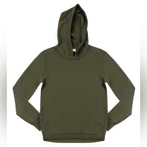 Military Green Lesien Compact Cotton Hooded Jumper