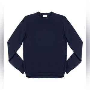 Dark Blue Massimen Compact Cotton Crew-Neck Jumper