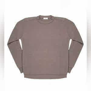 Mud Grey Massimen Compact Cotton Crew-Neck Jumper
