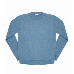 Light Blue Massimen Compact Cotton Crew-Neck Jumper