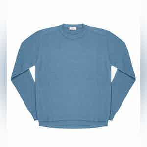 Light Blue Massimen Compact Cotton Crew-Neck Jumper