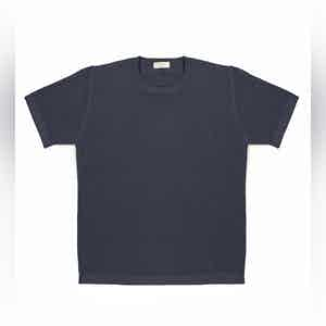 Dark Blue Malten Ribbed Compact Cotton T-Shirt