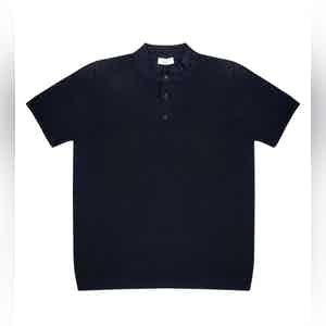 Dark Blue Mate Compact Cotton Polo Shirt